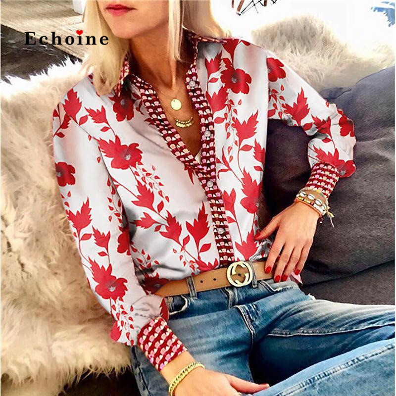 Echoine Women Shirt Floral Print Sexy Turn-Down Collar Long Sleeve Street Tunic Tops Lady Blouse Smooth Slim Fit Female Clothes