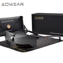 AOWEAR Mens Rimless Sunglasses Men Porlarized High Quality Aluminum Sports Style Sun Glasses Male Outdoor Driving Goggles Gafas