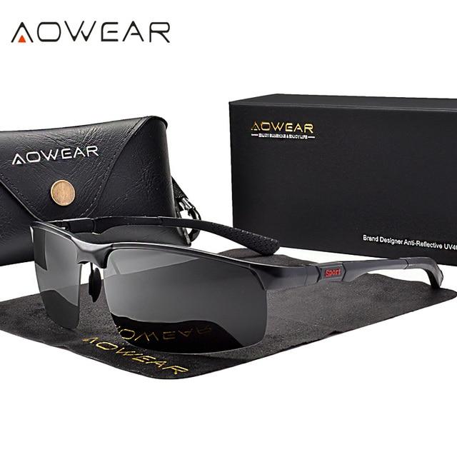 AOWEAR גברים של משקפי שמש ללא מסגרת גברים Porlarized באיכות גבוהה אלומיניום ספורט סגנון שמש משקפיים זכר חיצוני נהיגה משקפי Gafas