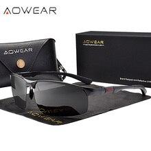 Aowear sem aro dos homens óculos de sol porlarized alta qualidade alumínio estilo esportivo óculos de sol masculino ao ar livre óculos de condução gafas