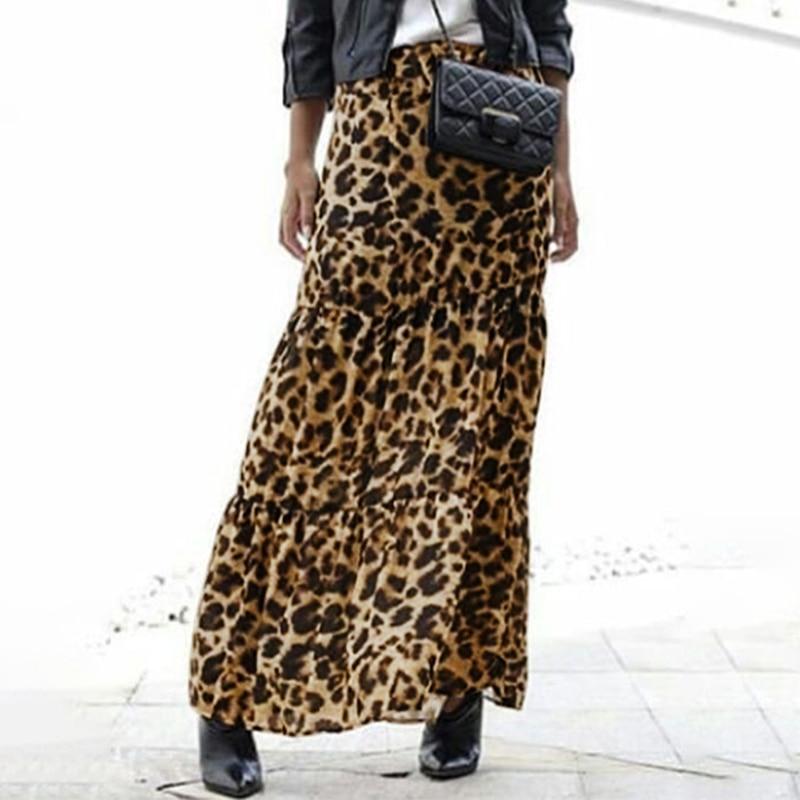 Mode Frauen Lange Leopard Print Röcke ZANZEA Sommer Casual Elastische Taille Rock Partei Lose Maxi Röcke Weibliche Vestido S-5XL