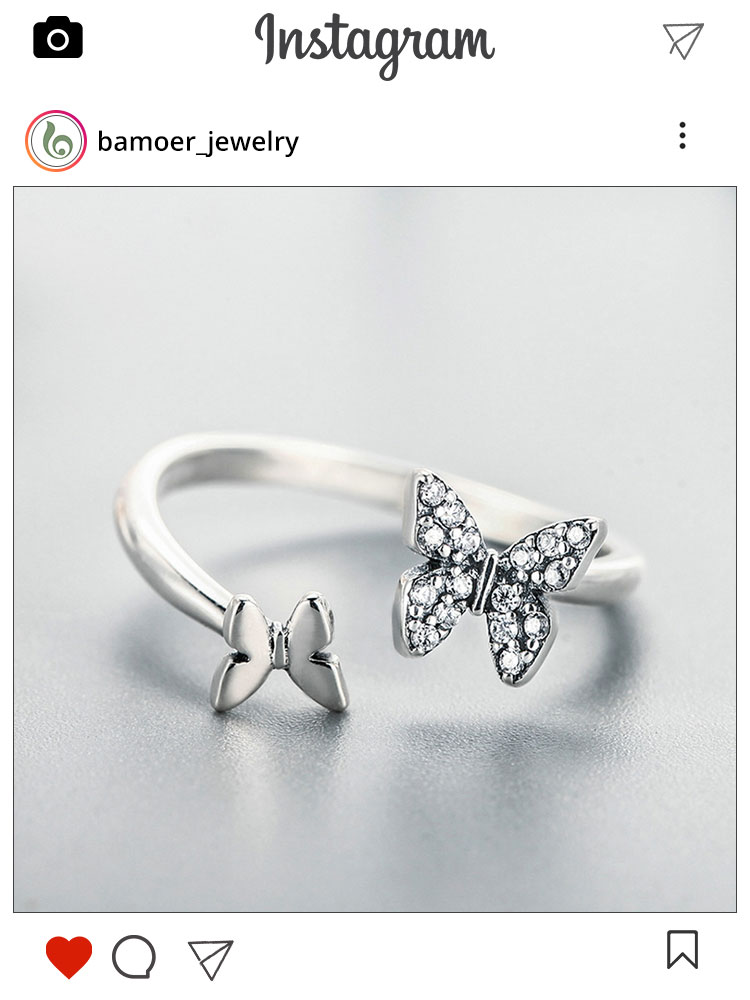 BAMOER Finger-Ring Jewelry Sterling-Silver Butterfly Fashion Women Open CZ for Gift SCR087