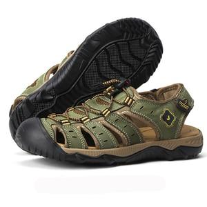 Image 4 - Сандалии мужские из натуральной кожи, деловая повседневная обувь, дышащие дизайнерские уличные пляжные босоножки, римские кроссовки для воды, лето