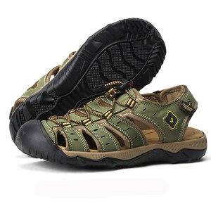 Image 4 - Letnie męskie sandały oryginalne skórzane biznesowe obuwie męskie oddychający design sandały plażowe rzymskie trampki wodne