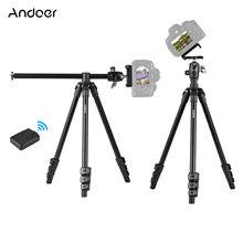 Andoer q160h tripé de câmera portátil montagem horizontal tripé de viagem profissional com tripé de controle remoto para câmera do telefone