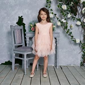 Image 3 - فستان جديد 2020 للفتيات من التول والدانتيل فساتين الأميرة للأطفال فستان حفلات الزفاف للبنات مع وشاح ملابس الطفل 1 6y E1953