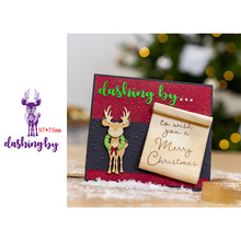 Christmas Cute Happy Elk Decorations Dashing By Artistic Words Metal Cutting Dies Scrapbooking Album Paper DIY Cards Crafts Embossing New 2019