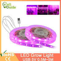 LED Grow Light LED Strip 1m2m 3m 4m 5m SMD Full Spectrum USB 5V2835 Chip LED Phyto Lamp For Greenhouse Hydroponic Plant Growing