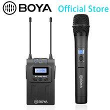 BY-WM8 pro sistema de microfone sem fio de canal duplo uhf para a câmera do smartphone entrevistas eng efp filme produção negócio vlog