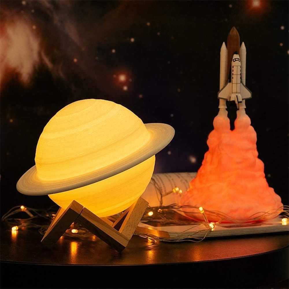 3D принт планета лампа Сатурна светодиодный Ночной светильник сенсорный Сенсор дистанционного Управление затемнения USB Перезаряжаемые ночники, подарок на Рождество, подарок для детей