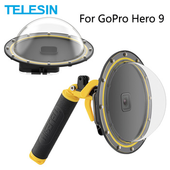TELESIN 6'' Dome Port 30M Waterproof Housing Case With Floating Handle Trigger Diving Cover For GoPro Hero 9 Black Accessories shoot 6 dual handheld dome port waterproof diving housing case cover with trigger for dji osmo action camera lens accessories