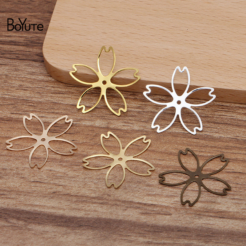 BoYuTe Wholesale (100 Pieces/Lot) Stamping Plate Metal Flower Hand Made Materials Diy Jewelry Accessories Parts