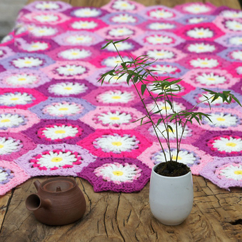 Hand-knitted Korean-style rural garden tablecloth DIY Hand Crocheted Seat Cushion Home Decorate Bed Blanket 90X120cm