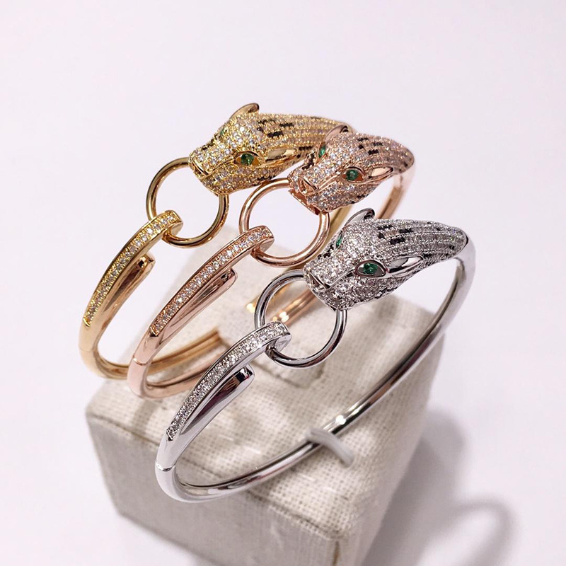 Fashion Leopard Animal Cuff Bangle Paved AAA Zircon Stone Panther Circle Design Bracelet for Women Wedding Party Jewelry