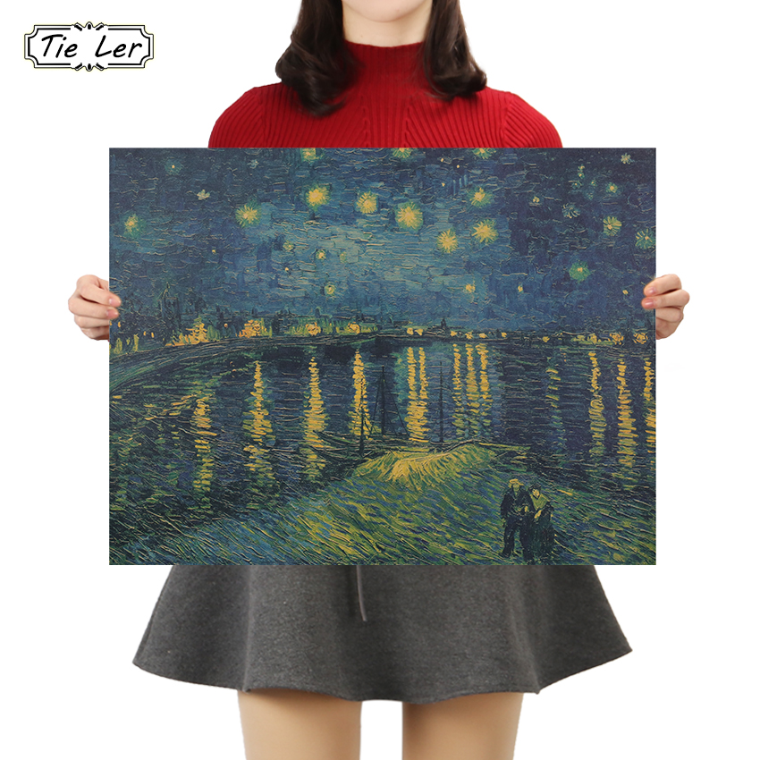 TIE LER ретро постер из крафт-бумаги Ван Гог Звездная ночь над Роном домашняя декоративная картина Наклейка на стену 36x47 см
