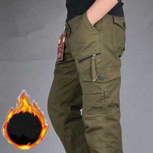 Image 4 - Męskie zimowe ciepłe grube spodnie dwuwarstwowe polarowe wojskowe kamuflaż wojskowy taktyczne bawełniane długie spodnie męskie workowate spodnie Cargo