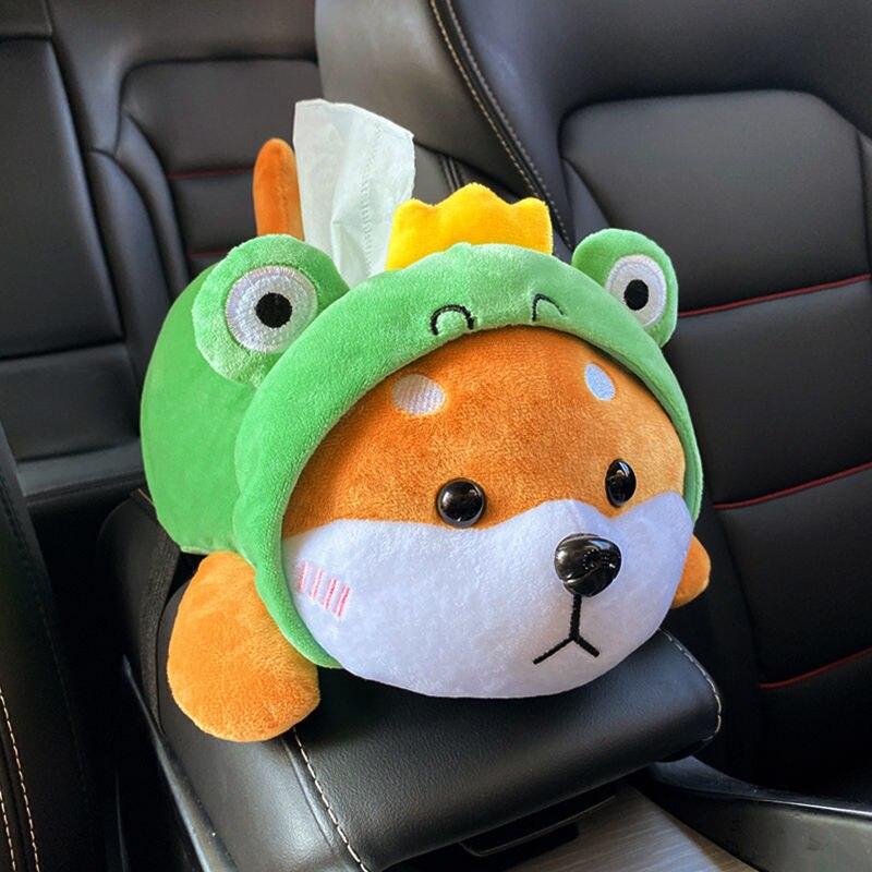 Creative Car Tissue Box Car Accessories For Girls Women Para Autos Plush Husky Cartoon Animals Dog Napkin Armrest box Chair back