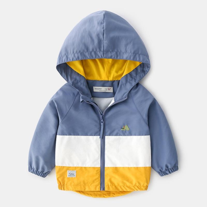 BINIDUCKLING Boys Dinosaur Windproof Jacket with Hood Raincoat