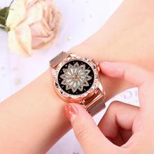 Luxury Rose Gold Women Watches For Fashion Lucky Flower Watch Ladies Crystal Dress Quartz Wristwatches relogio feminino