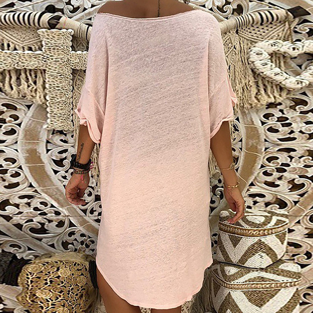 2020 Summer Casual Women Loose Print A-Line Dress Sexy Off Shoulder Party Dress Elegant Ladies Plus Size Knitted Dress Vestidos 6