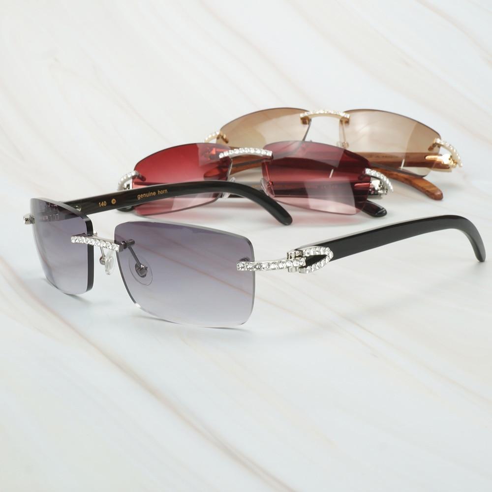 Buffalo Horn Sunglasses Men for Fishing Designer Diamond Sunglasses Women Gafas De Sol Hombre Luxury Rimless Shades For Women