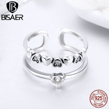 BISAER Dropship Jewelry 925 Sterling Silver Heart Stackable Double Layers Open Finger Ring for Women Anels Silver Jewelry HSR429 bisaer silver rings 925 sterling silver pet french bulldog open finger ring for women silver ring fashion jewelry hsr411