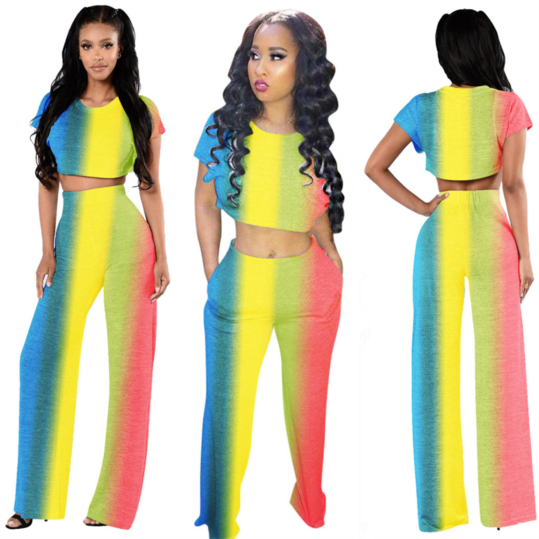 Ls6156 AliExpress Europe And America Fashion Sexy Rainbow Gradient Color Wide-Leg Two-Piece Set