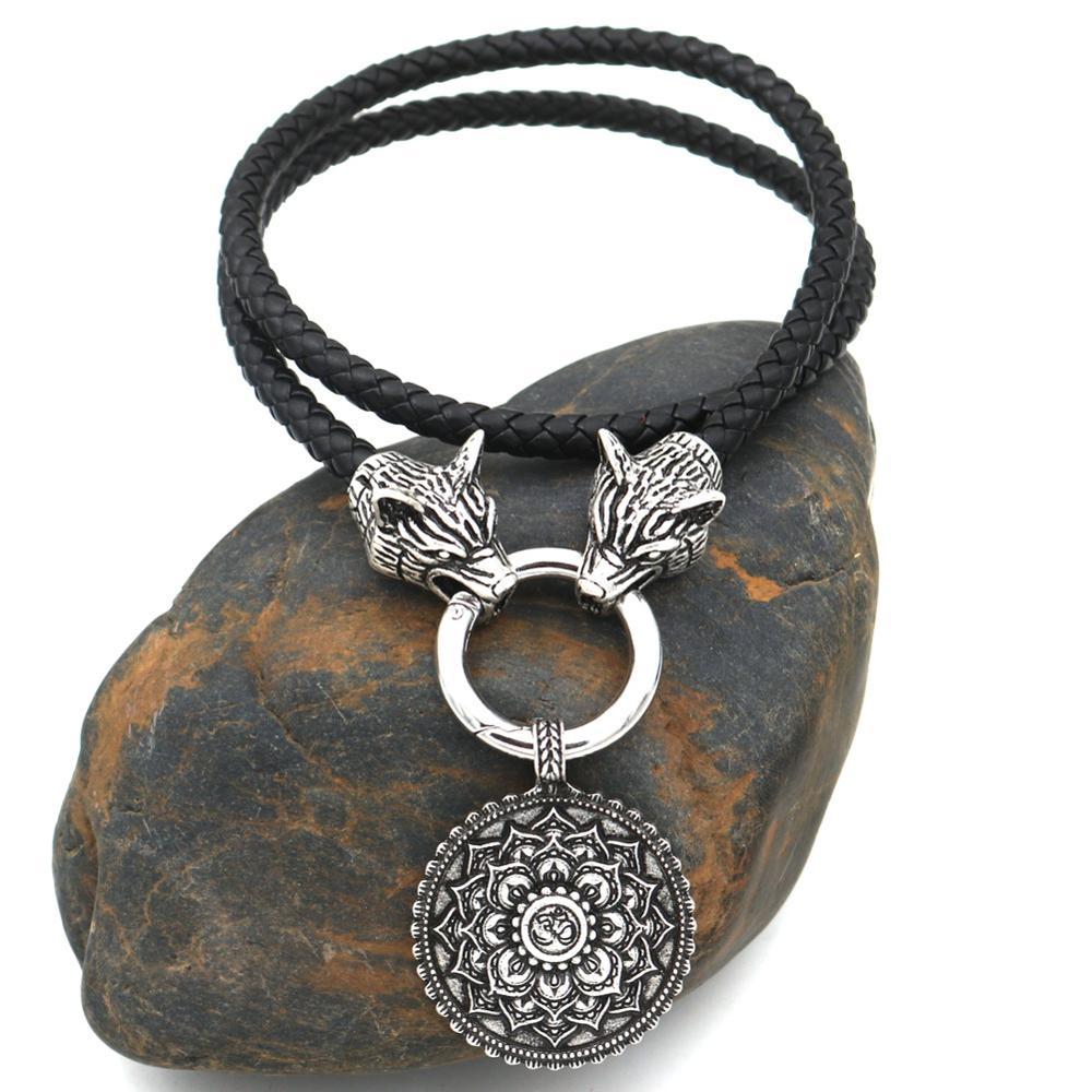 Nostalgia Lotus Flower OM Mandala Pendant Yoga Meditation Art Geometry Jewelry Wolf Heads Amulet Chain Viking Necklace Women Men