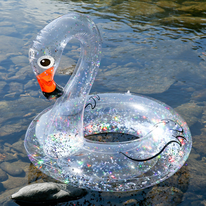 Confetti Holographic Glitter Inflatable Swan Swimming Circle Water Floating Island Summer Fun Pool Toys Adult Kids Swimming Ring