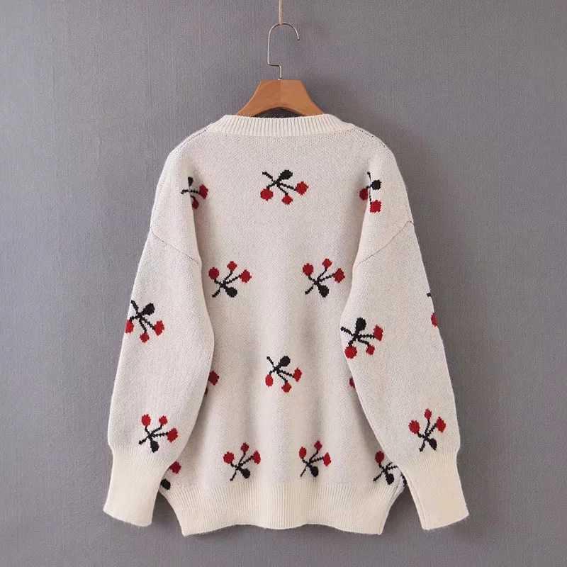Za 女性秋冬暖かいトップス緩い桜柄ジャカードニットセータープルオーバーカジュアルプルの女性の女性服