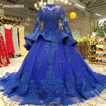 LS2147 royal blue party dresses high neck long sleeve lace up back beauty cheap evening dress real price for elegant mothers