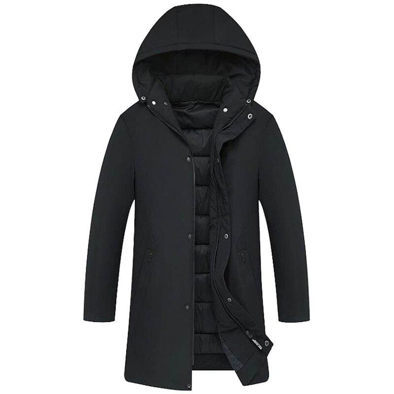 New Fashion Winter Parka Jacket Men Windbreaker Thick Warm Winter Coat Men Hooded Collar Mid-long Parka Men Big Size Parka Homme