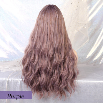 Blonde Unicorn Long Mix Purple Womens Wigs with Bangs Water Wave Heat Resistant Synthetic Wigs for Women African American 2