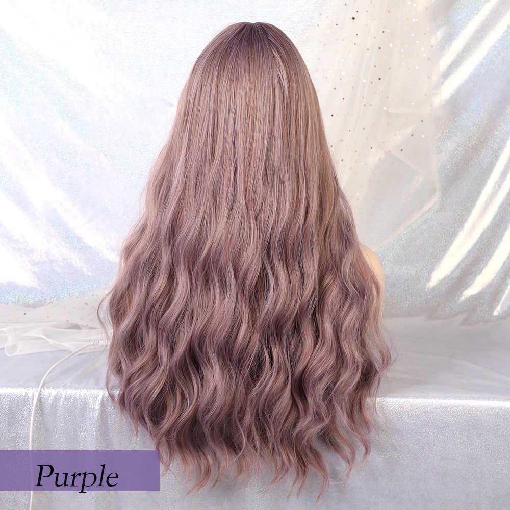 Perucas sintéticas resistentes ao calor da onda da água das perucas das mulheres roxas da mistura longa do unicórnio loiro com franja