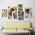 Геометрический абстрактный холст, живопись, плакат в скандинавском стиле и принты, винтажная девушка, настенные художественные картины для...