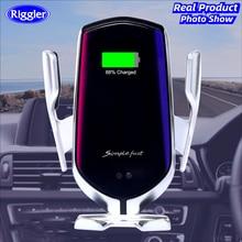 Cargador inalámbrico R2 con abrazadera infrarroja para coche, montaje de carga automático para Samsung S10, S9, Note9, Iphone XS, XR, Qi, Cargador USB C rápido