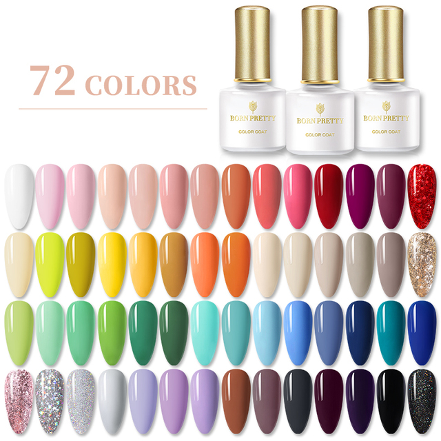 BORN PRETTY Gel Nail Polish 6ml Pure-Nail-Color Soak Off UV Gel Semi Permanent Gel Varnish Base Top Coat Need UV Lamp Cure 1