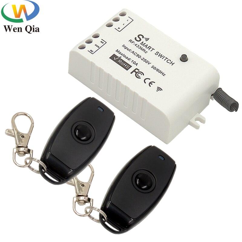 433Mhz Universal Wireless Fernbedienung Schalter AC90V-250V 10Amp 1CH RF Relais Empfänger Sender Modul für LED/Licht/fan lampe