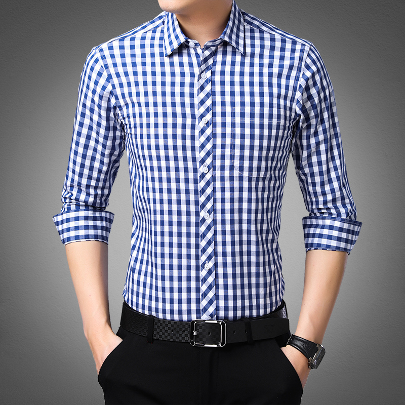 Blue White Plaid Mens Classic Casual Shirt High Quality 100% Cotton Male Social Long Sleeve Slim Fit Shirt 4XL
