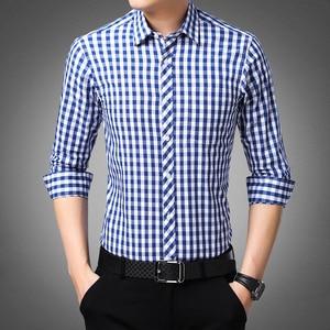 Image 4 - Blue White Plaid Mens Classic Casual Shirt High Quality 100% Cotton Male Social Long Sleeve Slim Fit Shirt 4XL