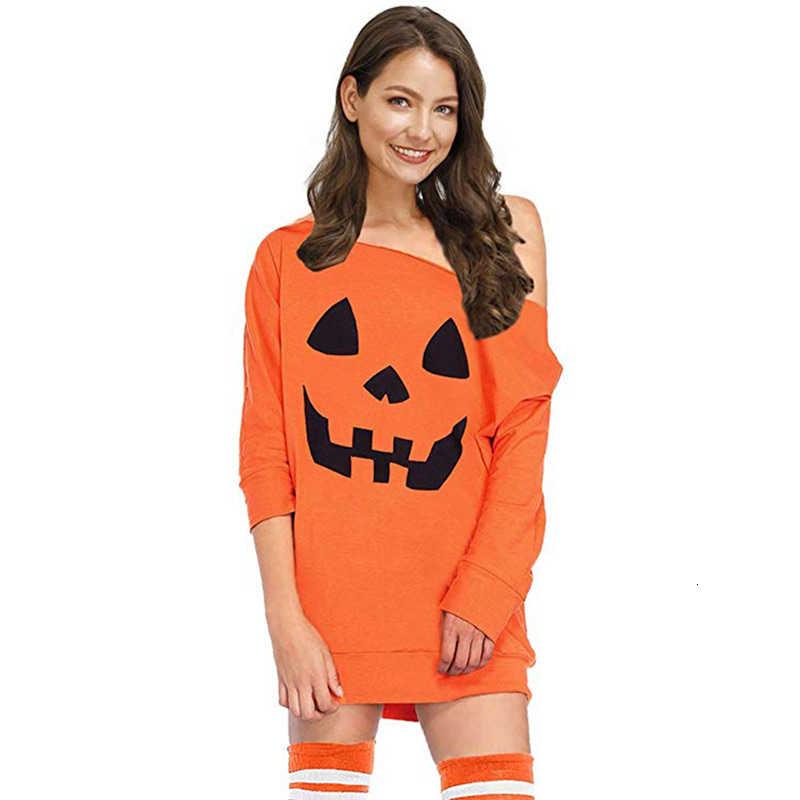 Hdy haoduoyi 2019 nova moda outono personalidade halloween imprimir sólida diagonal ombro recortado manga reta solto vestido
