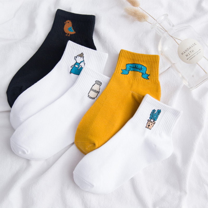SP&CITY 5 Pairs Set Women Cute Socks Fashion Striped Letter Casual Joker Short Socks For Female College Style Women Ankle Socks