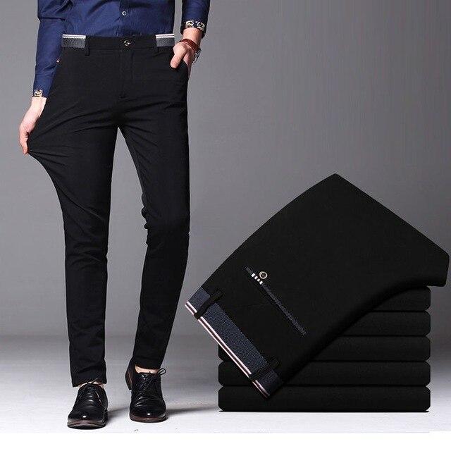 Pantalones largos informales a la moda de primavera y otoño 2020 para hombre, pantalones elásticos rectos formales para hombre, tallas grandes 28 40