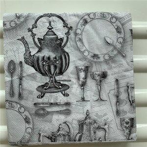 Image 2 - Decoupage serwetki papierowe elegancki tkanki w stylu vintage ręcznik czarny szary pałac z dzbankiem do herbaty i filiżankami urodziny wesele strona główna piękny wystrój