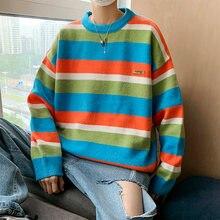 Мужской полосатый свитер повседневный свободный лоскутный с