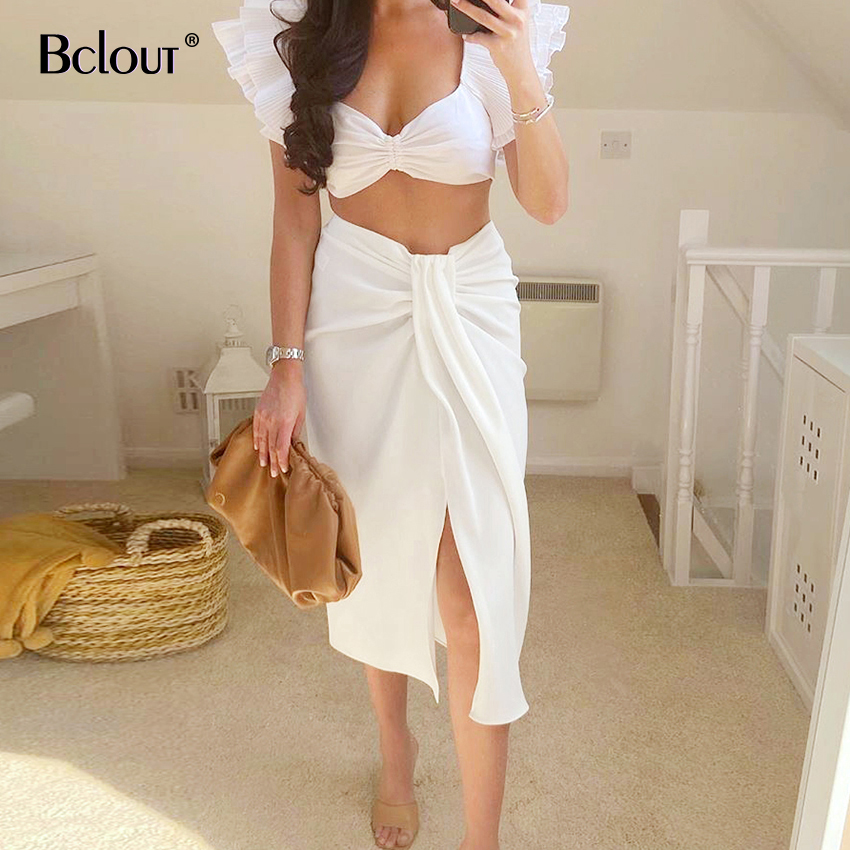Bclout Casual White High Waist <font><b>Skirts</b></font> Woman Sexy Slit Polyester Wrap Ladies <font><b>Skirt</b></font> Slim Midi <font><b>Skirt</b></font> Women 2020 Summer <font><b>Fall</b></font> Solid image
