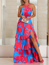 Felyn 2020 Best Quality Famous Brand Dress Bohemian Print Halter Cascading Ruffles High Split Summer Beach Maxi Dress