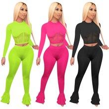 Zoctuo 2020 твердые двух частей наборы для женщин Sheer сетки лоскутное двух частей установить с длинным рукавом футболки ноги вырезать вспышки брюки комплект
