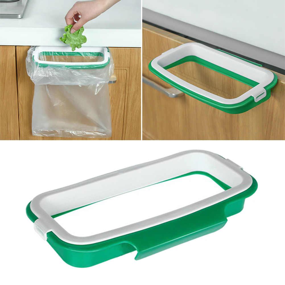 1 unidad bolsa de basura estante armario sobre Puerta de armario estante de almacenamiento de plástico bolsas de basura soporte para despensa baño lavandería cocina