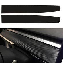 Dashboard Sticker Tesla-Model 3-Scraper-Accessories Carbon-Fiber for Black 2pcs Matte